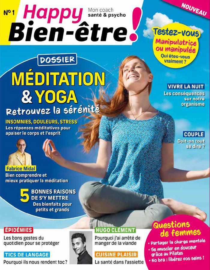 Couverture du premier numéro du magazine Happy Bien-être sur la méditation et le yoga