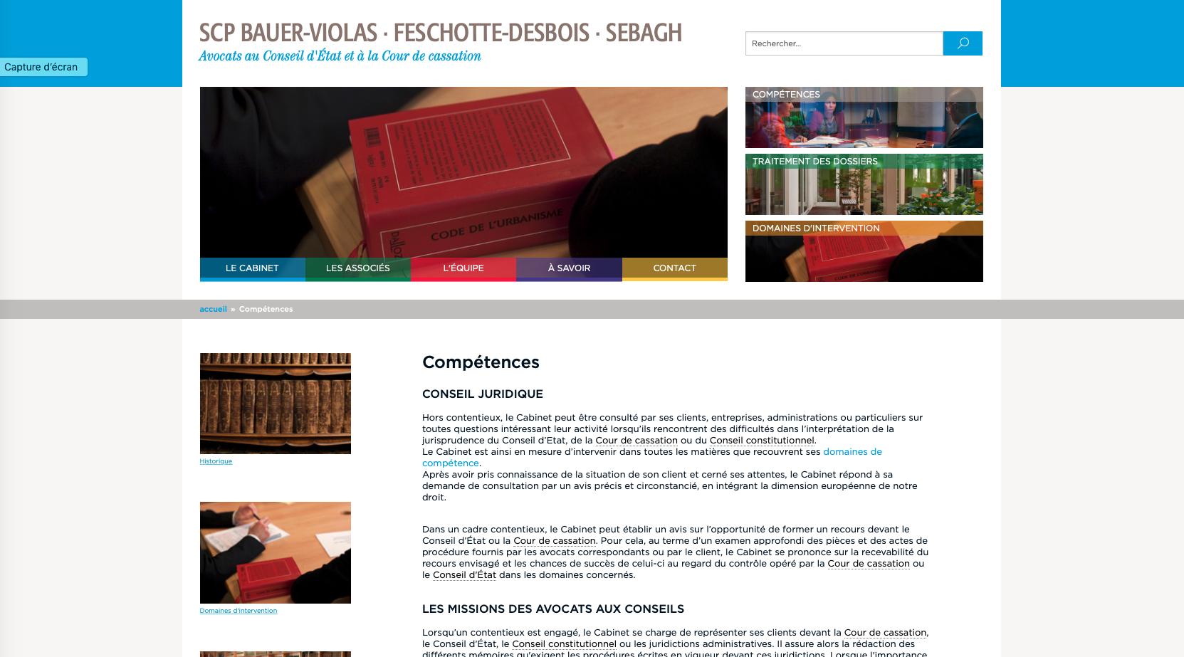 Page d'accueil du site de cabinet d'avocats Bauer-Violas